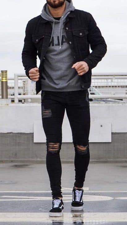 Sobreposição com jaqueta jeans
