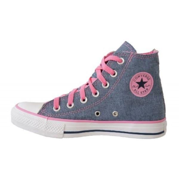 Tênis converse all star rosa com jeans