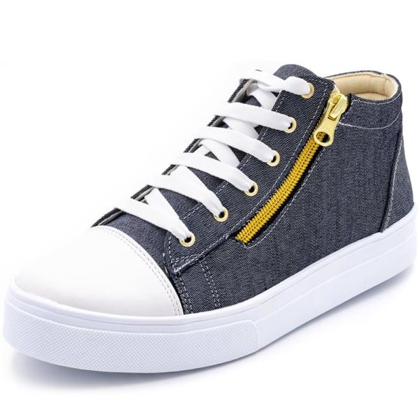 Tênis jeans feminino com zíper amarelo