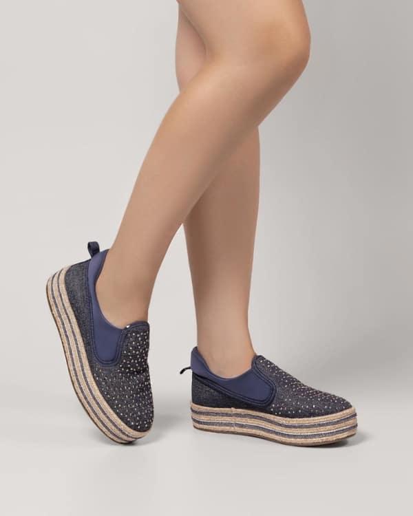Tênis jeans feminino plataforma com brilho