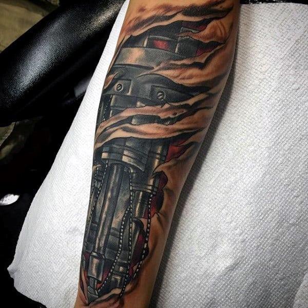 Tatuagem Braço Mecânico colorida