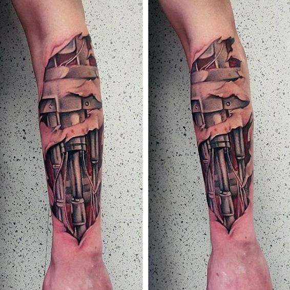 Tatuagem Braço Mecânico exemplos