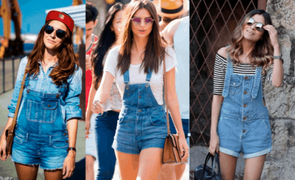 Três modelos de jardineiras jeans