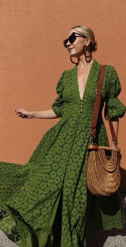 Vestidão verde longo com botões