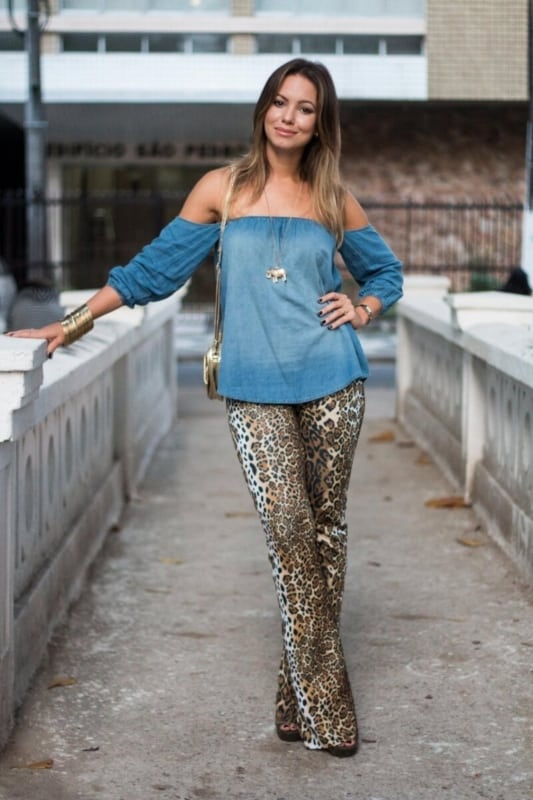 blusa ciganinha jeans com calça legging
