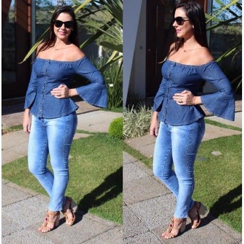 blusa ciganinha jeans com gargantilha
