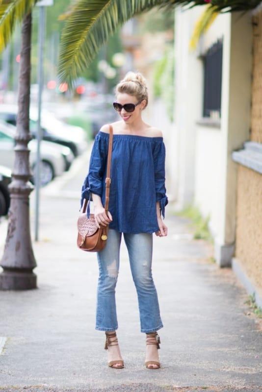 blusa ciganinha jeans com jeans basica