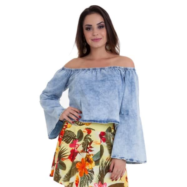 blusa ciganinha jeans com saia drapeada