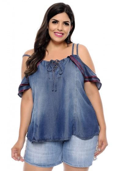 blusa ciganinha jeans com short jeans
