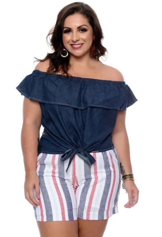 blusa ciganinha jeans com short listrado