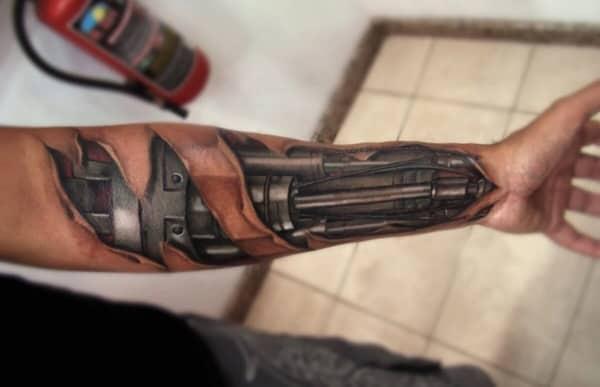 como fazer Tatuagem Braço Mecânico 3d