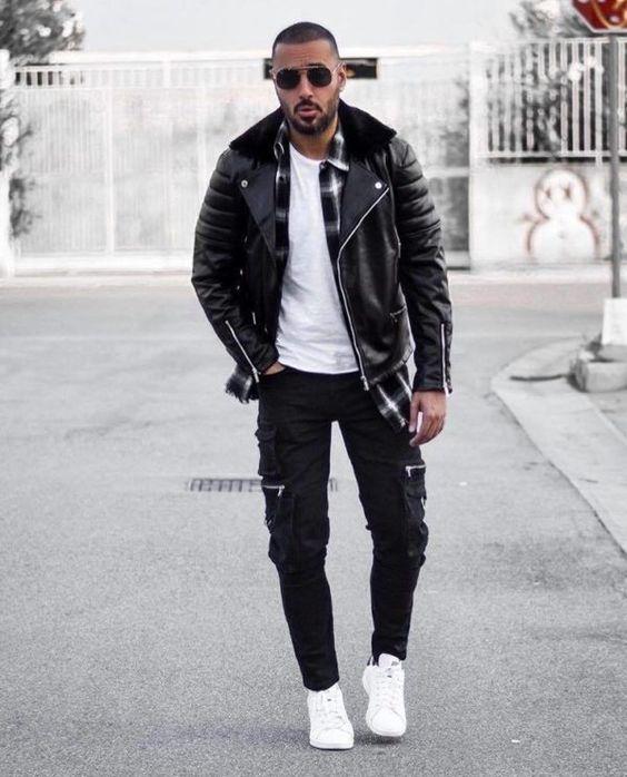 como usar jaqueta preta de couro