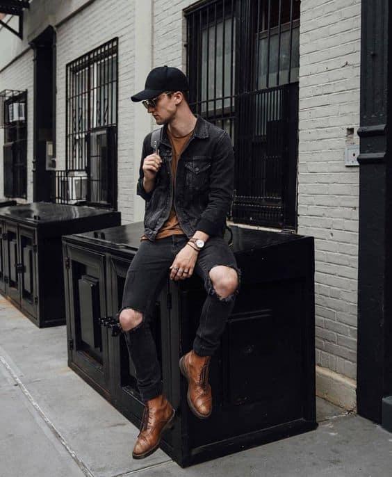 como usar jaqueta preta jeans