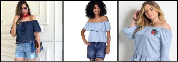 fotos de blusa ciganinha jeans