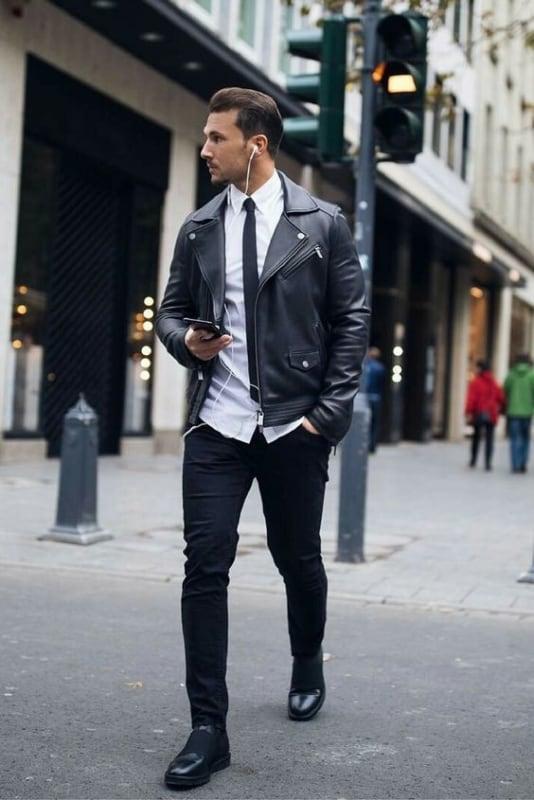jaqueta de couro no look social