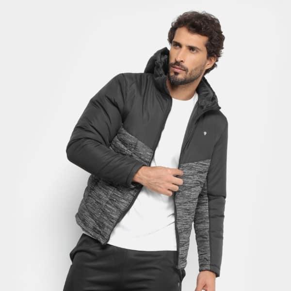jaqueta de nylon preta