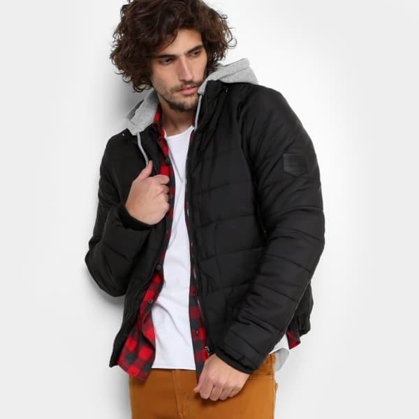 jaqueta de nylon puffer