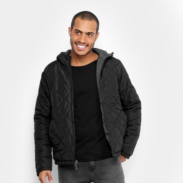 jaqueta preta masculina de nylon