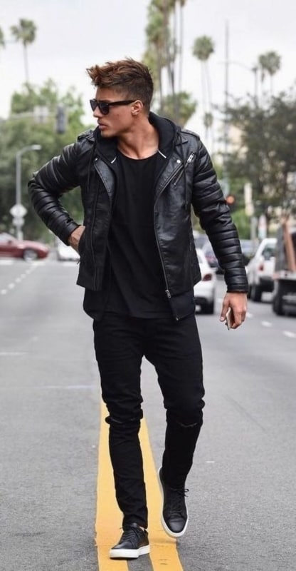 modelo de Jaqueta masculina de couro