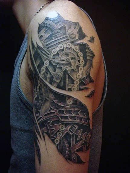 modelo de Tatuagem Braço Mecânico