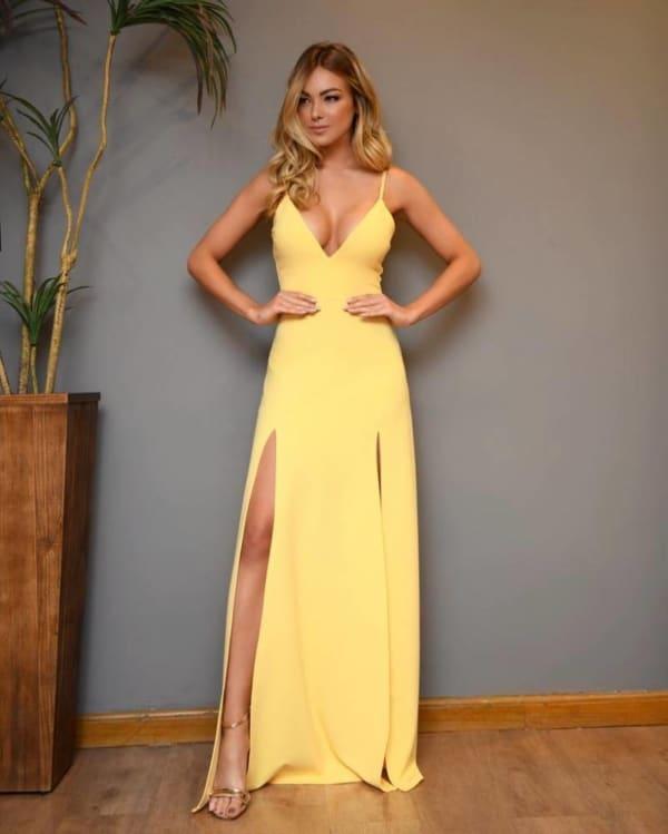 vestido amarelo para madrinha casamento 80