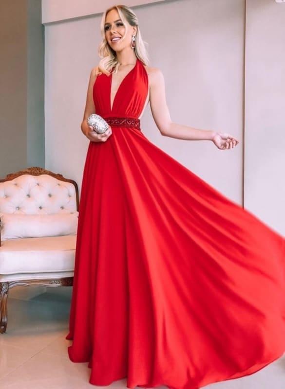 vestido longo vermelho para madrinha de casamento 09