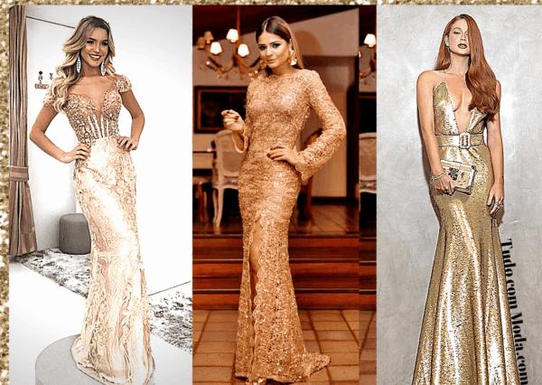 vestido madrinha de cor dourado 40