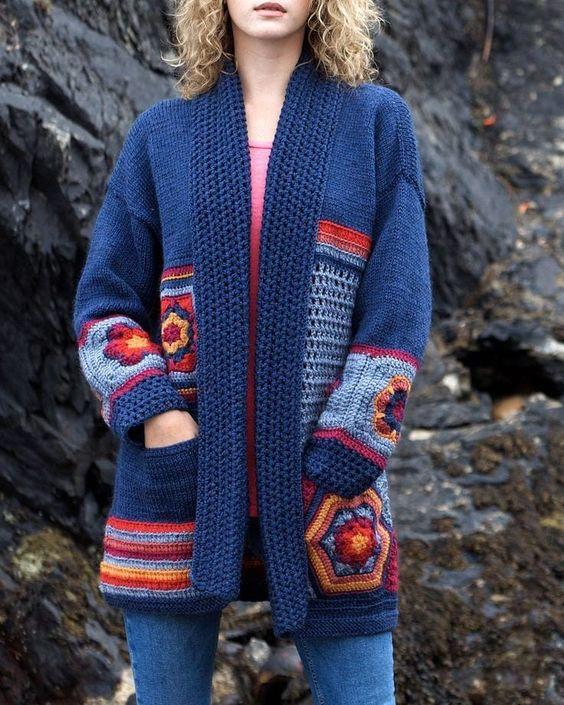 look com casaco de inverno em crochê