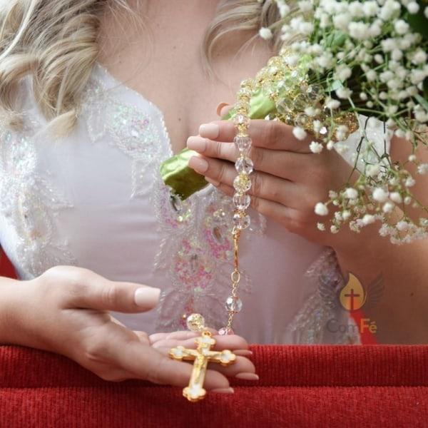 terço de noiva cristal com dourado