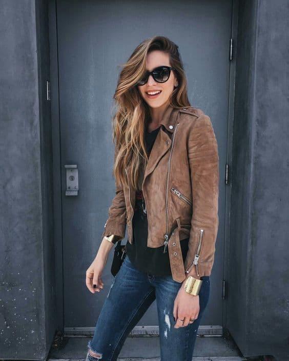 look com jaqueta biker de camurça marrom