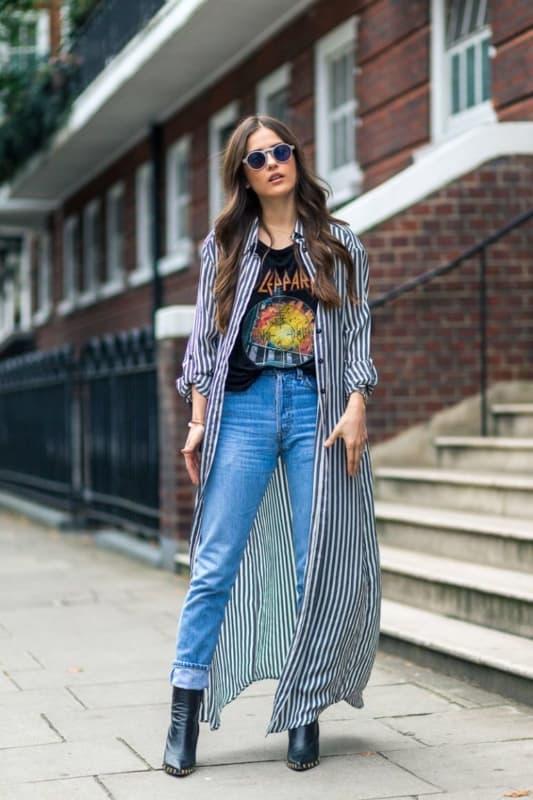 look street style com vestido camisa longo