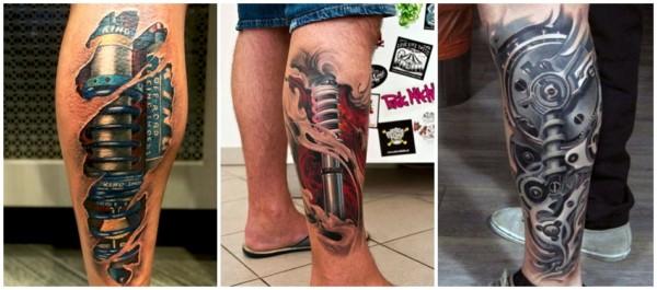 14 tatuagem biomecânica na perna