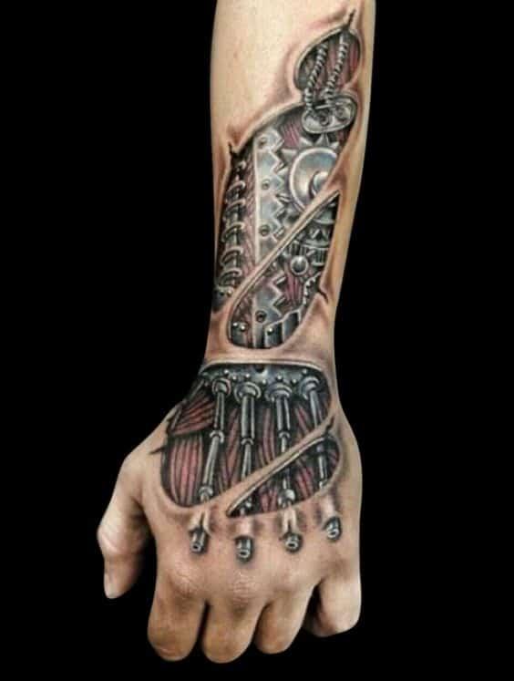 tatuagem robótica na mão