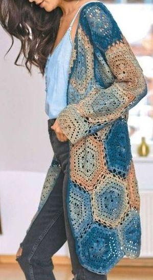 casaco colorido de barbante