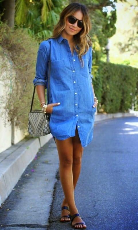 look de verão com chemise jeans e rasteirinha