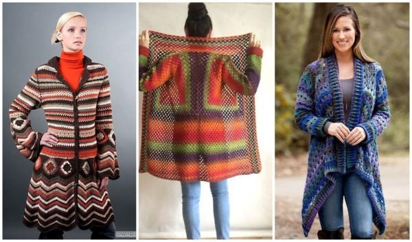 modelos de casaco colorido de crochê