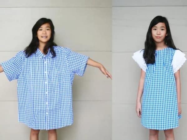 antes e depois para transformação de roupa upcycling