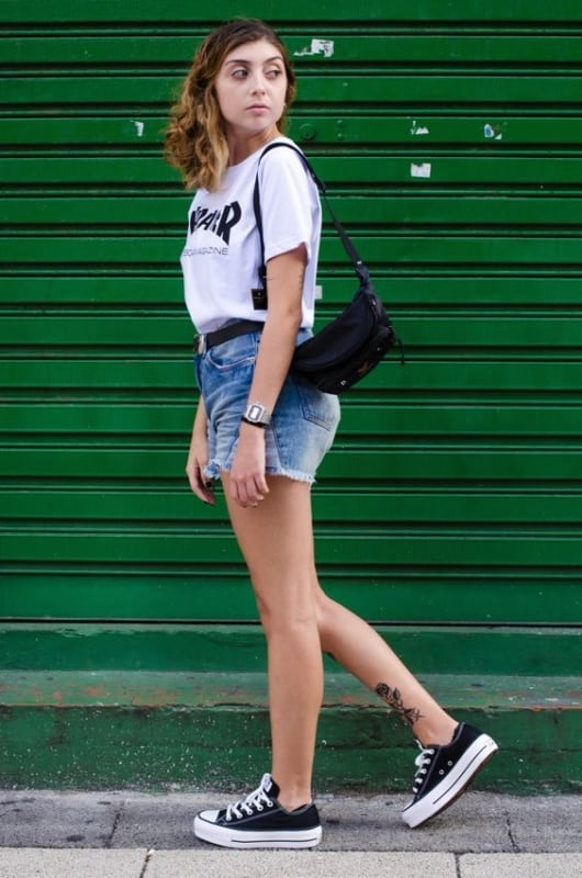 look com tênis All Star flatform preto