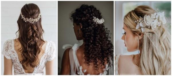noiva com penteado semi preso e arranjo de cabelo