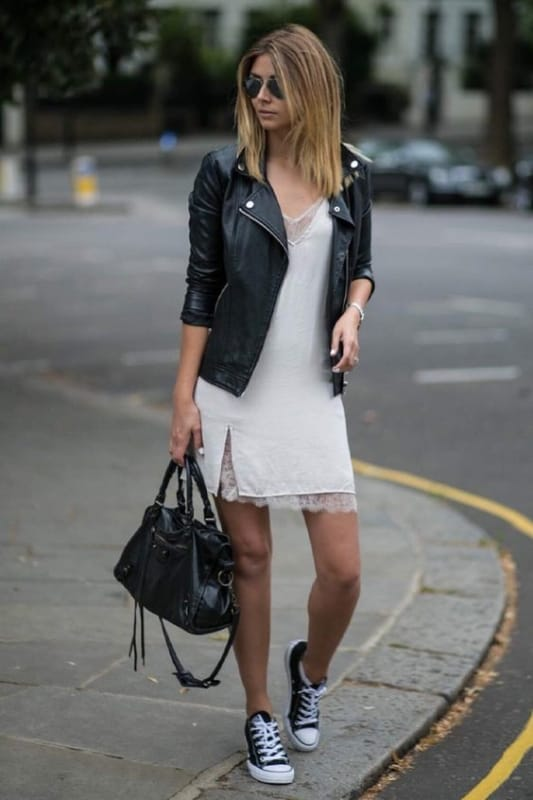 look com vestido e tênis preto feminino