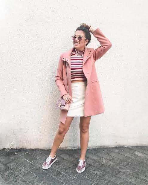 look com tênis de glitter rosa