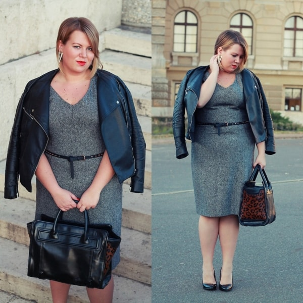 look plus size com vestido e jaqueta de couro