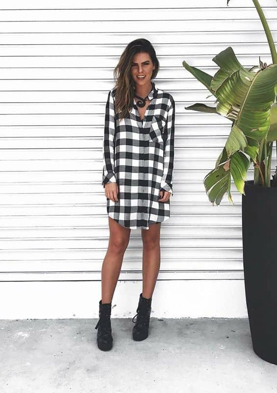 look com chemise xadrez preto e branco