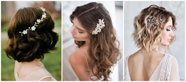 penteado de noiva solto com arranjo de cabelo
