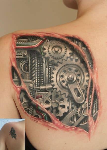 tatuagem 3D nas costas