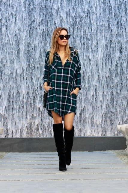 como usar chemise xadrez com bota de cano alto