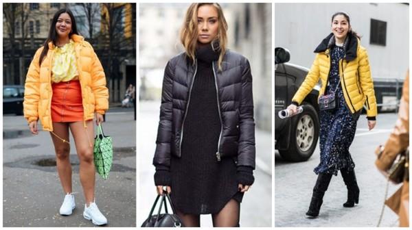 looks com jaqueta puffer feminina com saia e vestido