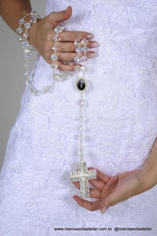 terço de noiva de cristal