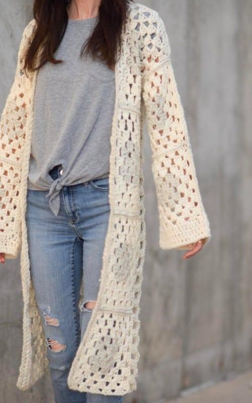 casaco longo simples de crochê