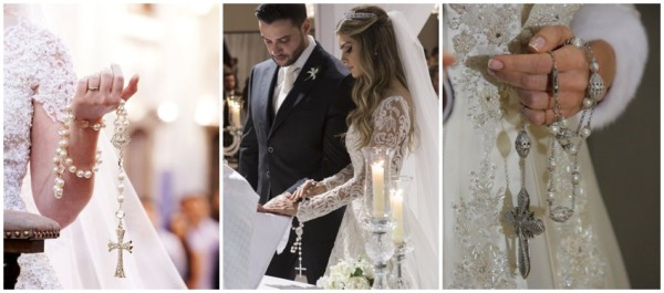 como usar terço durante a cerimônia de casamento